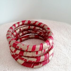 4 Sets Fabric Bracelets,  Metallic Fabric